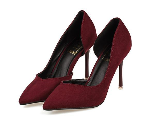 Sexy wine red suede wedding shoes ladies two-piece  D'orsay shoes women high heels office lady work shoes size 35 to 39