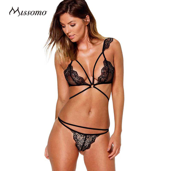 Missomo Women Sexy Lace Floral Perspective Bra Sets Lace Up Backless Bra G-String Solid Color Underwear Bra Set for wholesale