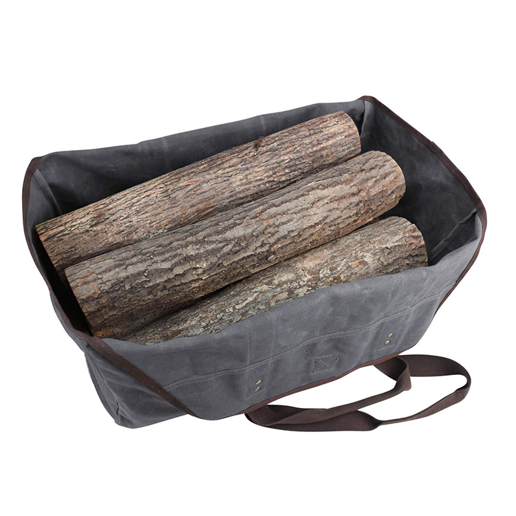Waxed Canvas Log Carrier Tote Bag Large Firewood Holder Accessories for Fireplace Stove Firewood Bag