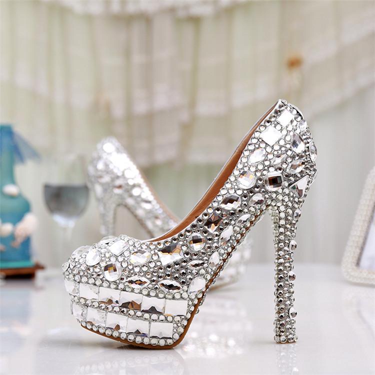 2015 New Luxury Handmade Silver Rhinestone Wedding Shoes