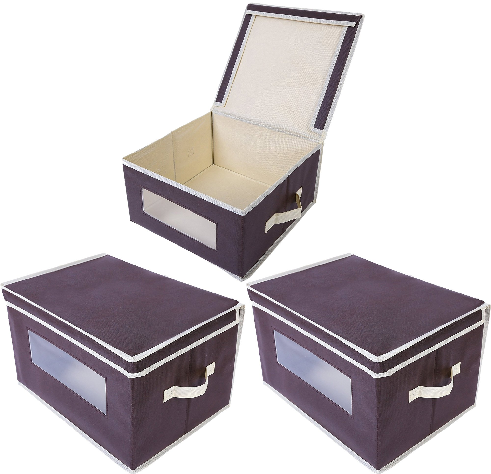 Foldable Fabric Storage Containers / Bins - Organization Cube Boxes with Clear Windows & Lids - for Household Items, Clothing, Office Supplies, & More - Brown/Beige - 3 Pack - 16.25 x 12 x 10.5 Inches