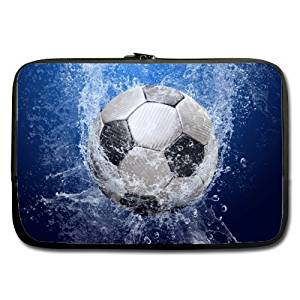 """Football Soccer Ball 17"""" Inch (Twin Sides) Water Resistant Neoprene Laptop Sleeve / Macbook / Notebook Computer Bag Case Cover"""