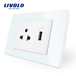 Livolo Tempered Glass White/Black Glass Panel US Power Socket with USB Charger VL-C9C1US1U-11/12