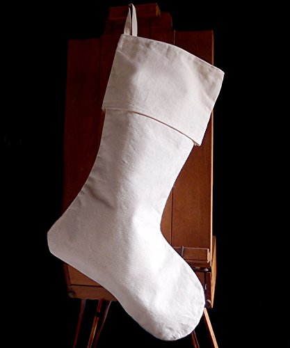 "AK-Trading Canvas Holidays Christmas Stockings - Pack of 6 - Natural Canvas, 10"" x 24""H x 14"" foot"