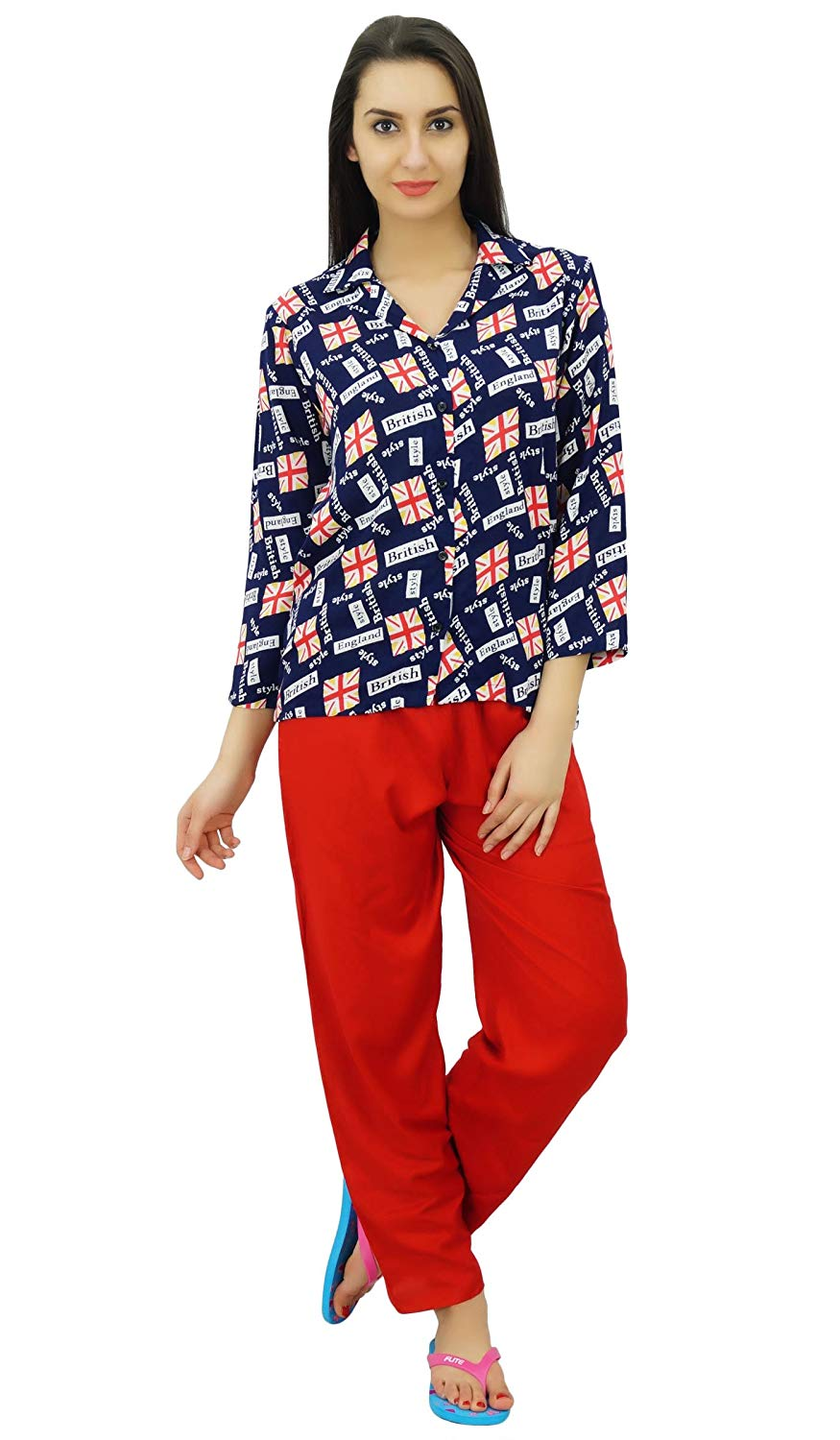 548215a3f2 Get Quotations · Bimba Button-Down Shirt With Pajama Pants Night Wear Set  Lounge Wear Sleep Shirt