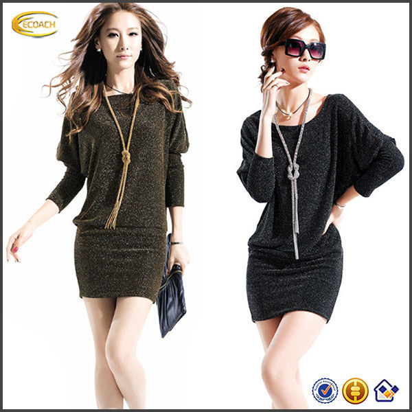 Women Fall Winter Batwing Sleeve Loose Dress Sexy mini Wrap Skirt Long Under Shirt OEM supplier