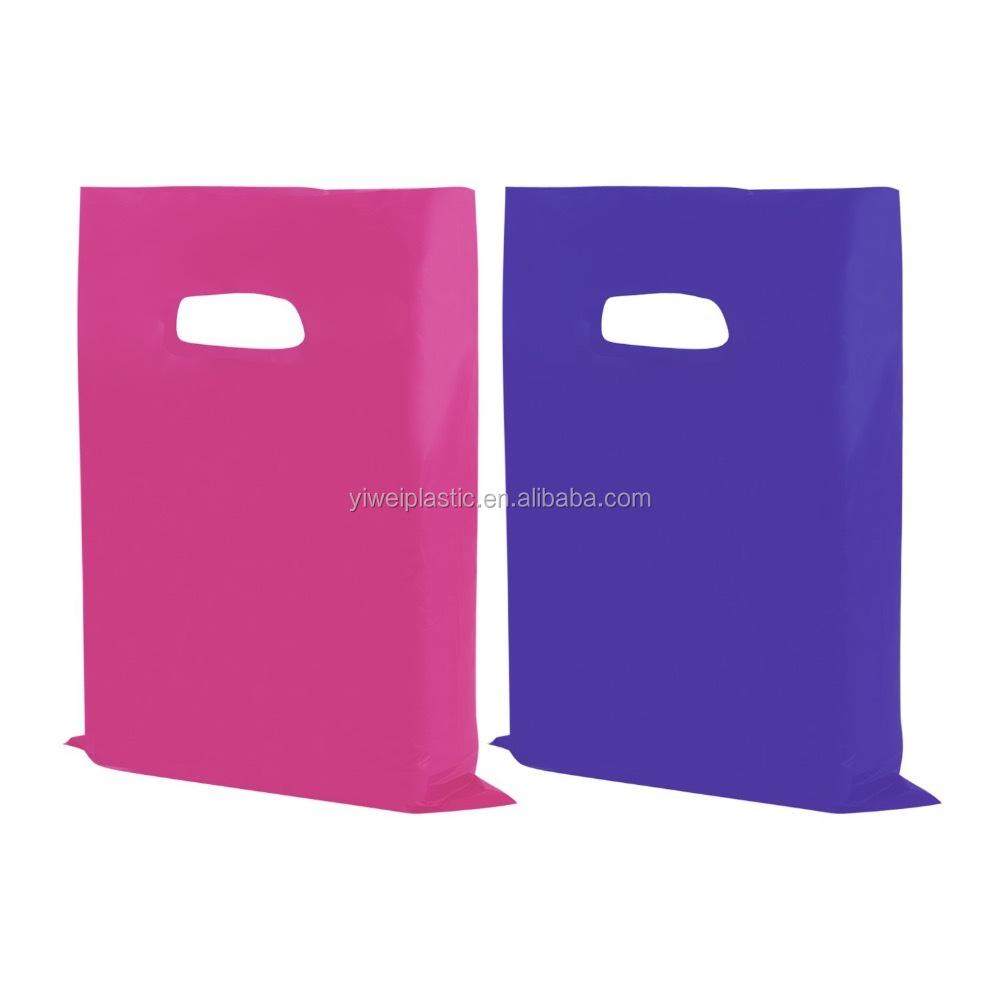 OEM Printed Pink/Purple High Glossy Die-Cut Plastic Custom Made Retail Shopping Handle Bag