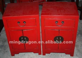 Chinese Antique Furniture Colorful Black/green/red One Drawer Two Door  Bedside Cabinet