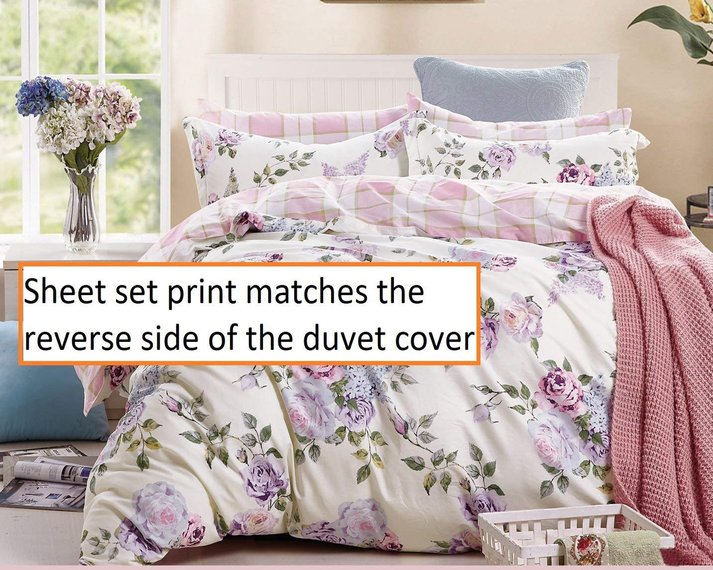 Swanson Beddings Pink-Purple Roses 100% Cotton Sheet Set : Fitted Sheet, Flat Sheet and Two Matching Pillowcases (Queen)