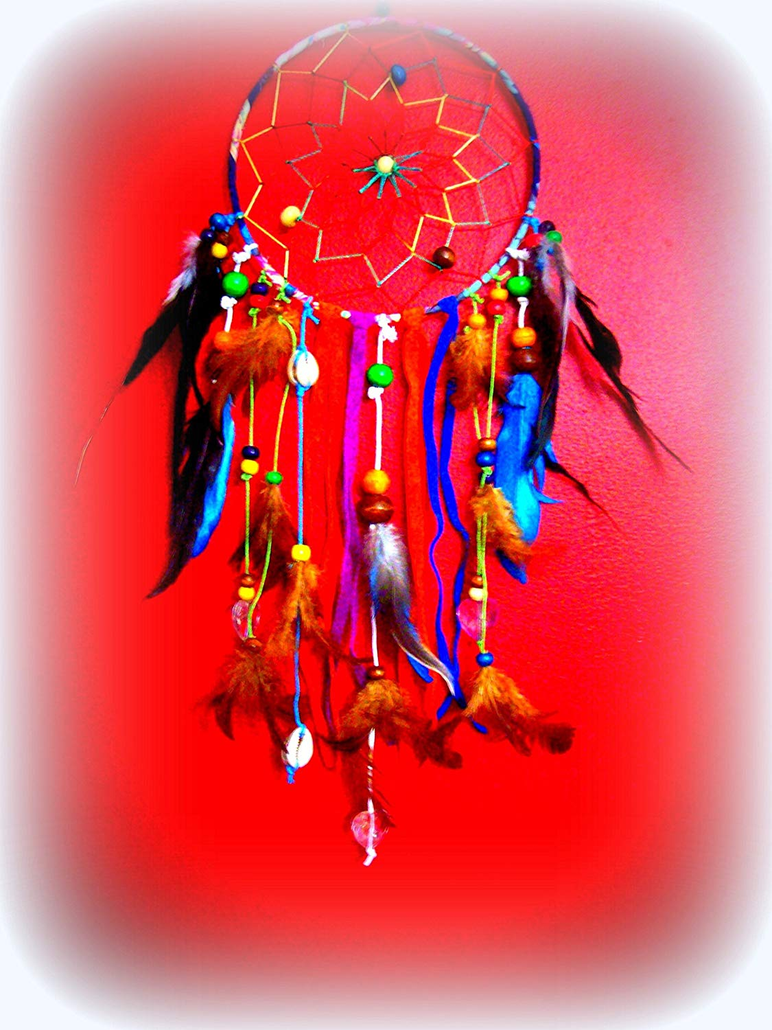 DREAMCATCHER, Handmade, leather & Feathers, Hanging dreamcatcher, 20 inch, Colorful Native Boho,wall hanging, Dream catcher