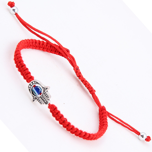Cheap Wholesale Factory Hamsa Hand Charm Red Braid Nylon Bracelet Jewellery