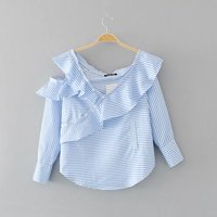 B40512A Women fashion clothes long sleeve V neck stripes blouse
