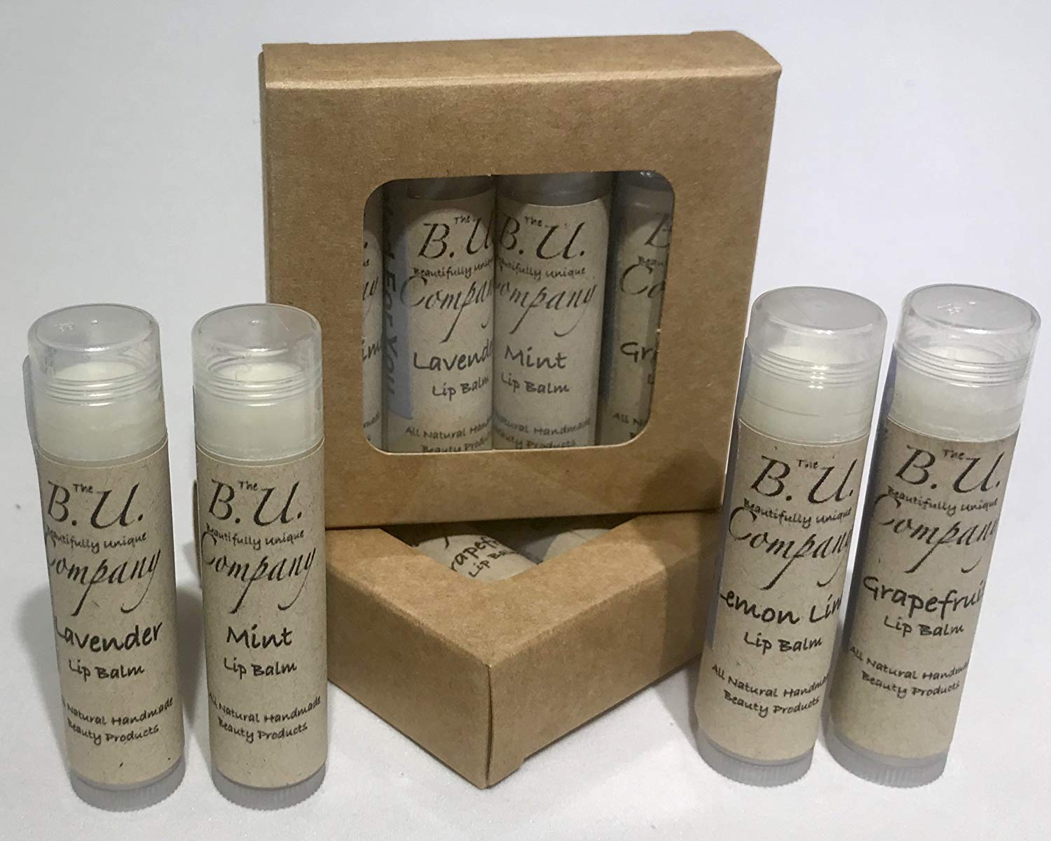 All Natural Lip Balm - Variety Pack - Grapefruit, Lemon Lime, Mint, and Lavender - All Natural Handmade - BU Company - 4 pack