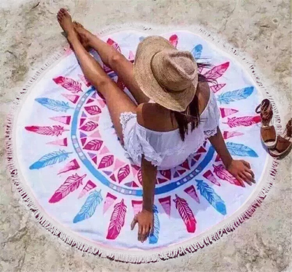 Round Tapestry Mandala ,Circle Beach Tapestry Tassels Towel Wall hanging Hippie Boho Gypsy Cotton Tablecloth Beach Towel , Round Yoga Mat,Table Cloth Hippy Hippie Boho Gypsy Beach Towel (Pink Feather)