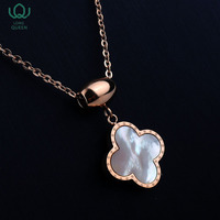2018 fashion jewelry women stainless steel necklace Four leaf clover metal ladies pendant jewelry