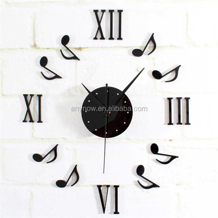 Creative living room DIY fashion custom 3D decor wall clock with EVA Sticker