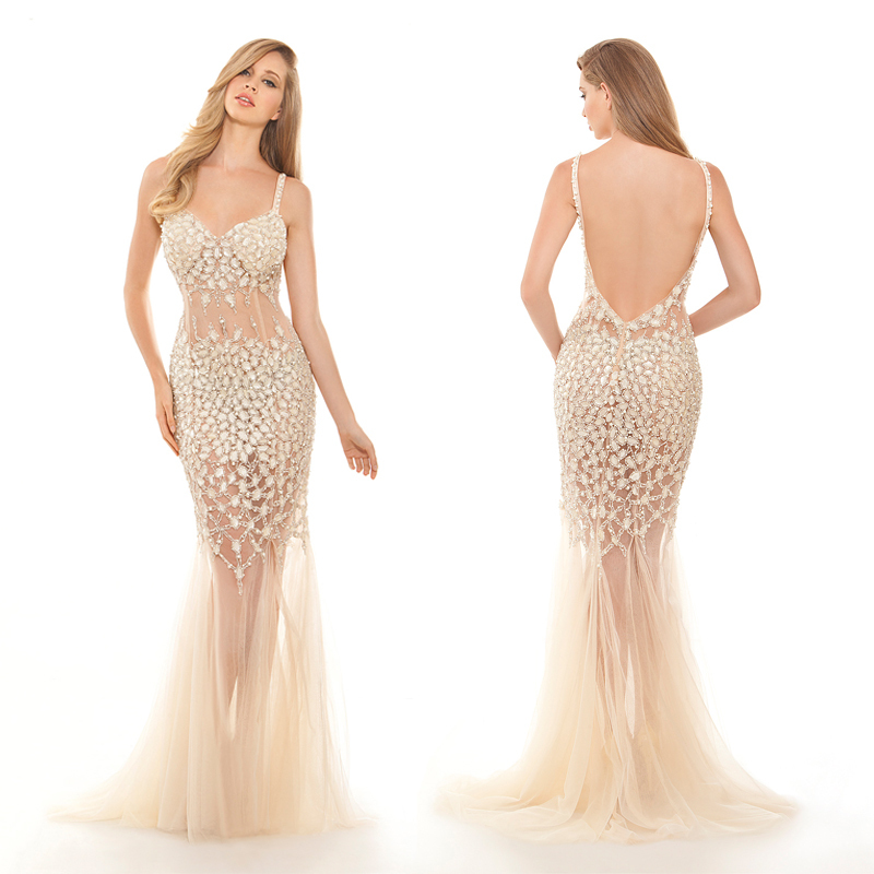 Stunning Fully Crystal Beaded Formal Dress Sexy Backless See Through Tulle Evening Gown Prom Dresses 2015 New Arrival FPD54