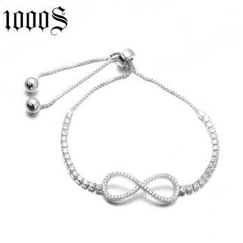 fashion rhodium plating silver bracelet with figure 8 pattern decoration