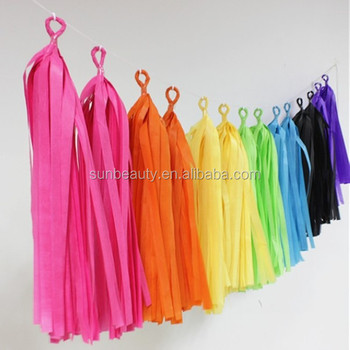 Birthday Decoration Ribbon Tissue Paper Tassel GarlandParty Garland