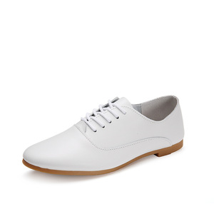 Woman leather preppy style lace up casual pointed flat non slip office lady soft fashion white color shoes