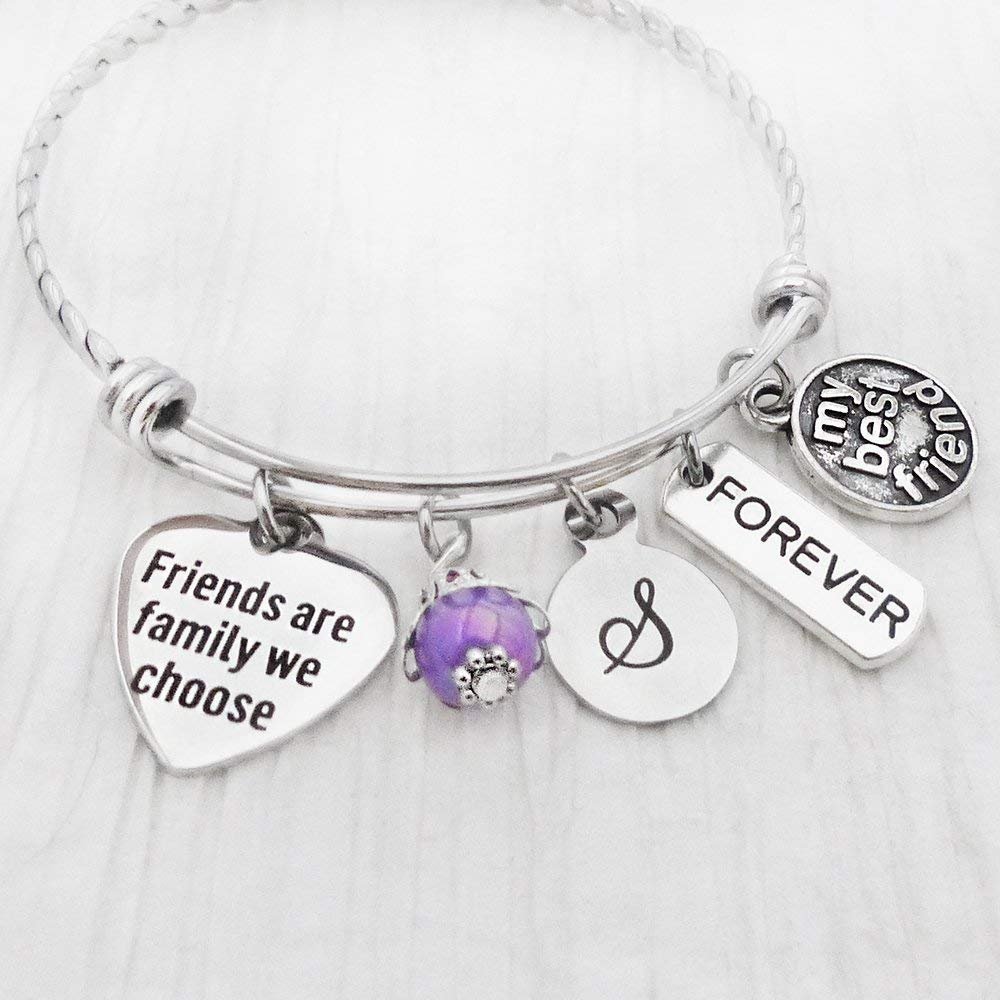 Friends are Family We Choose Jewelry, Bangle Bracelet, Forever Charm, my best friend Charm, Initial Letter Charm Bracelet, Friendship Gifts, Purple
