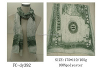 Beautiful Long White&Green One U.S.Dollar Pattern Printed Women's Fashion Polyester Wrap Scarf