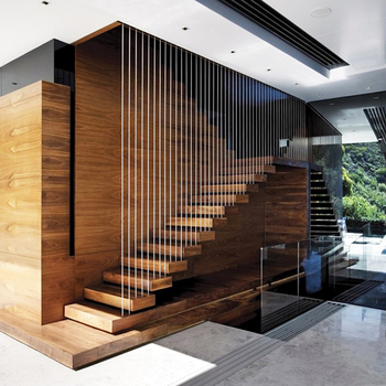 Cherry Wood Floating Staircase Open Riser Straight Stairs