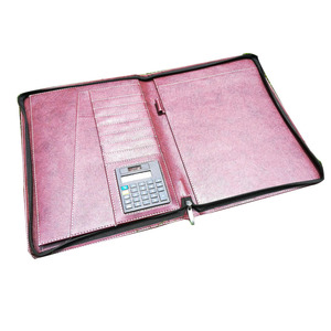 Personalized Women Padfolio Zipper Leather Portfolio Rose Gold