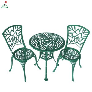 Cast aluminum garden furniture 3pcs bistio set with Bamboo pattern
