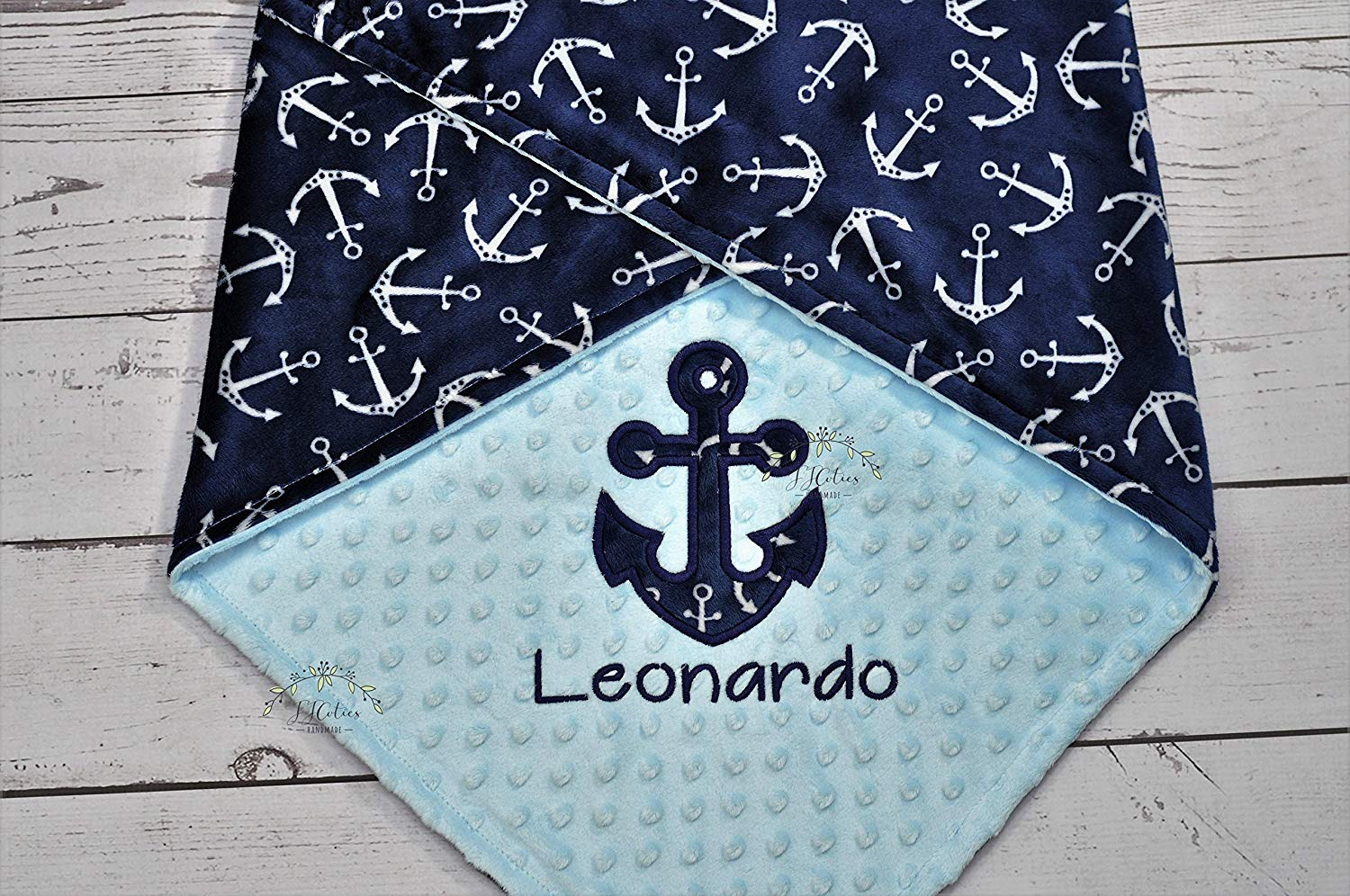 91a2a713dc8e Get Quotations · Personalized Anchor Nautical Minky Baby Blanket Nursery  Boy Girl