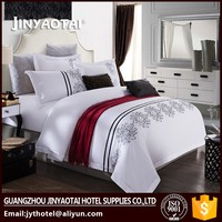 Luxury five-star hotel bedlinen 300TC embroider white jacquard bed sheet bedding set 60x40s T300 jacquard embroidery