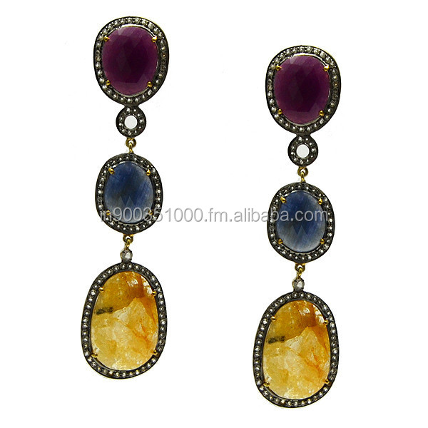 Multi Sapphire Dangle Earrings Pave Diamond Jewelry Manufacture 18k Gold 925 Sterling SIlver Wholesaler