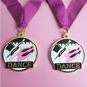 Customized made soft enamel gold award metal dance medal