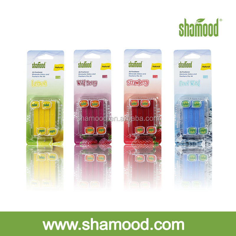 Shamood Brand 4PCS Pack Scented Plastic Car Vent Clip Air Freshener