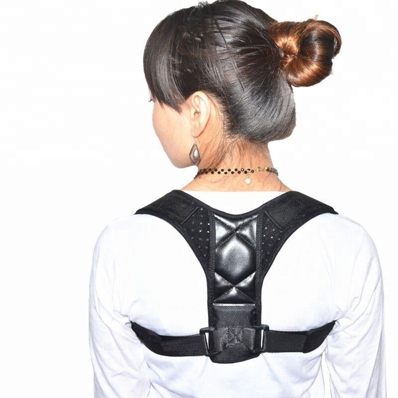 Effective posture correction for man and women adjustable back brace posture corrector, Black