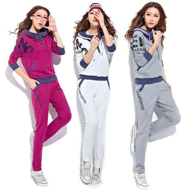 Spring and autumn women's clothing in 2015 The new fashion, cultivate one's morality sport suit Sets hooded fleece leisure suit