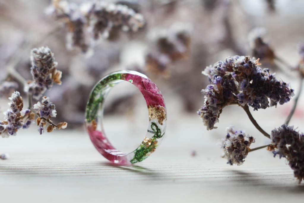 ButterflyShop Resin Ring With Moss and Petals, Transparent Resin Ring, Rainbow Resin Ring, Faceted Resin Ring, Green Pink Resin Ring, Anniversary Ring