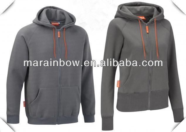 Blank Couple Hoodie Jacket Grey 100% Cotton Fleece Hoodie Plain ...