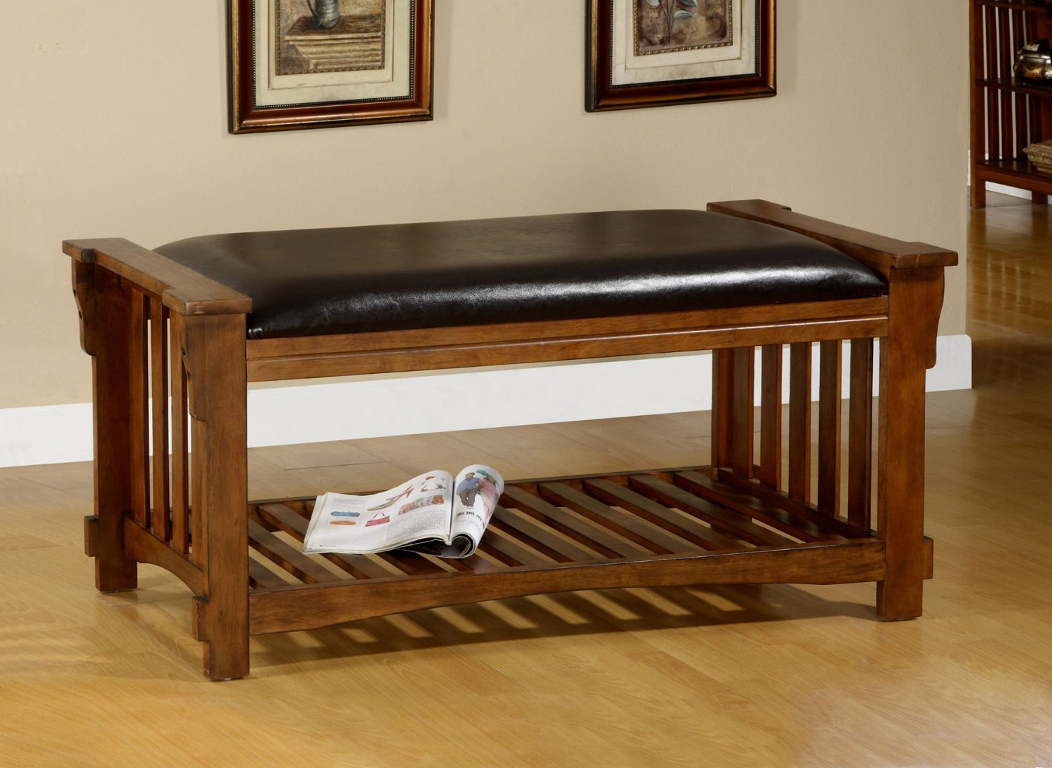 1PerfectChoice Salford Mission Style Bench Bottom Shelf Padded Seat Solid Wood Antique Oak