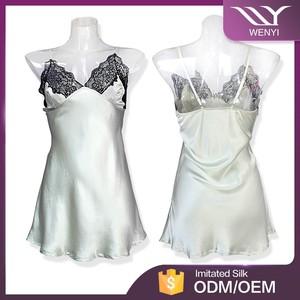 ccf2341ccf4 Alibaba china wholesale unique embroidery design women\'s see-through satin  sleepwear sexy