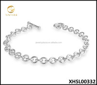 925 Sterling Silver Rolo Chain Toggle Charm Bracelet For DIY
