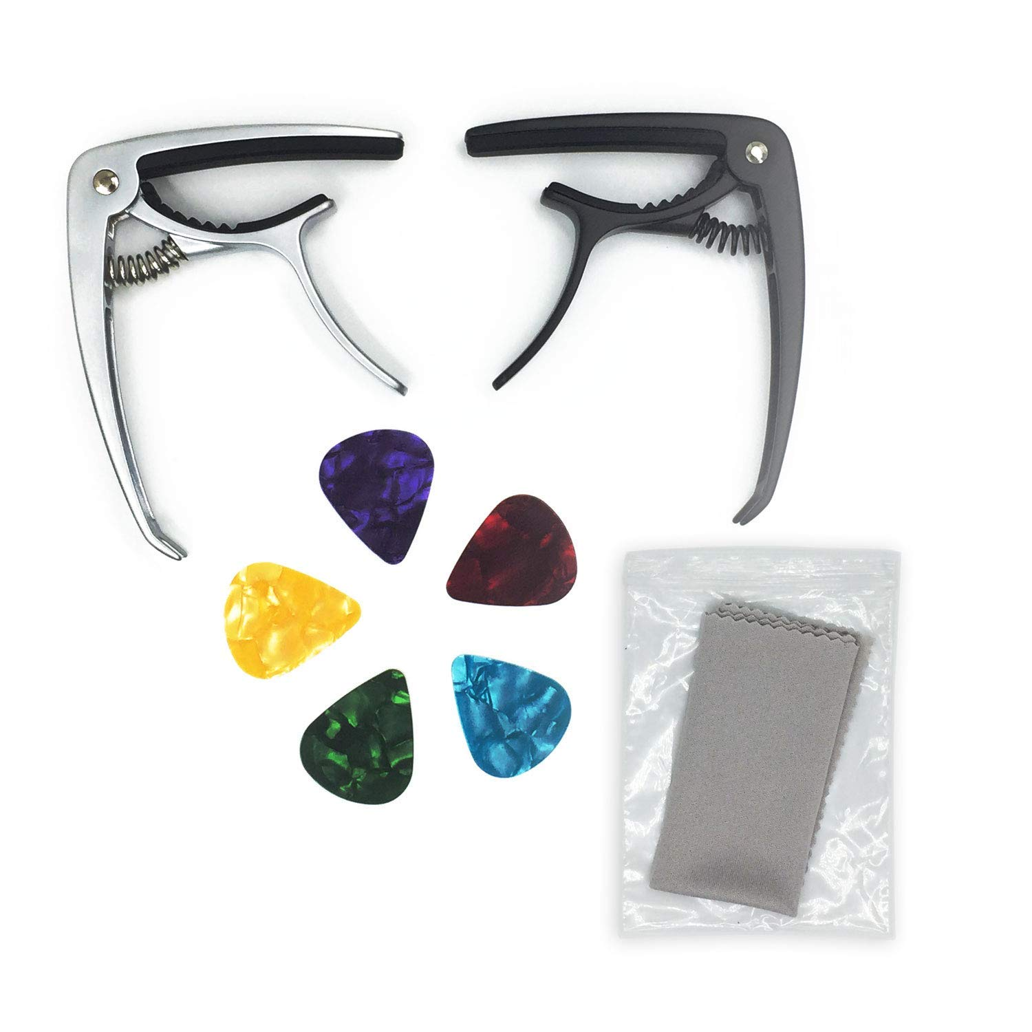 Guitar Capo Ukulele Capo Made of Zinc Alloy for Acoustic and Electric Guitars, Ukulele and Banjo (2 Pack) with 5 Bonus Colorful Guitar Picks