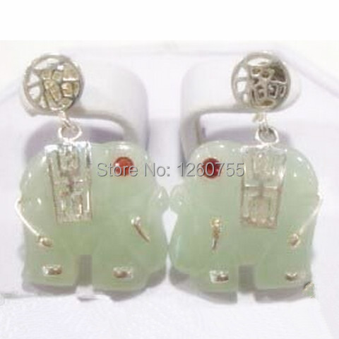 CHAR green jade crystal Elephant Dangle 925 sterling silver '' luck ''Earring #E-120 free shipping !
