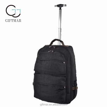 "19"" 21"" latest design trolly bag durable quality double backpack with trolley"