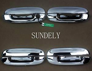 SUNDELY® ABS Chrome Plated Silver Tone Door Handle Catch Cover Molding Trim for Buick Rainier 2004-2007 (Set of 4 Handle Covers)