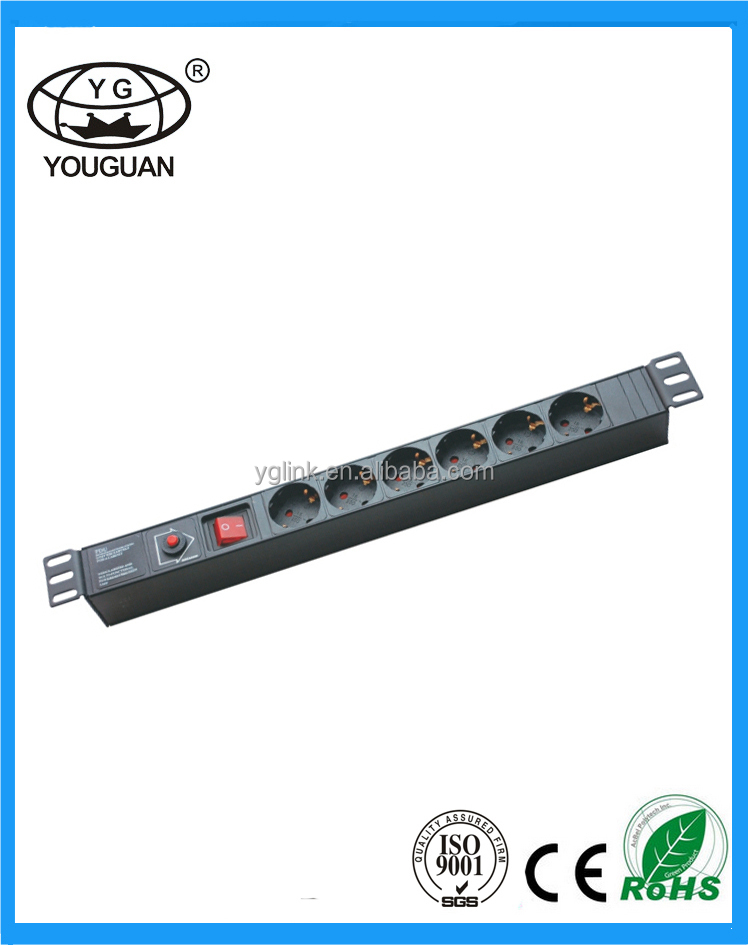 19''German Type 6 ways IC PDU Socket light socket camera