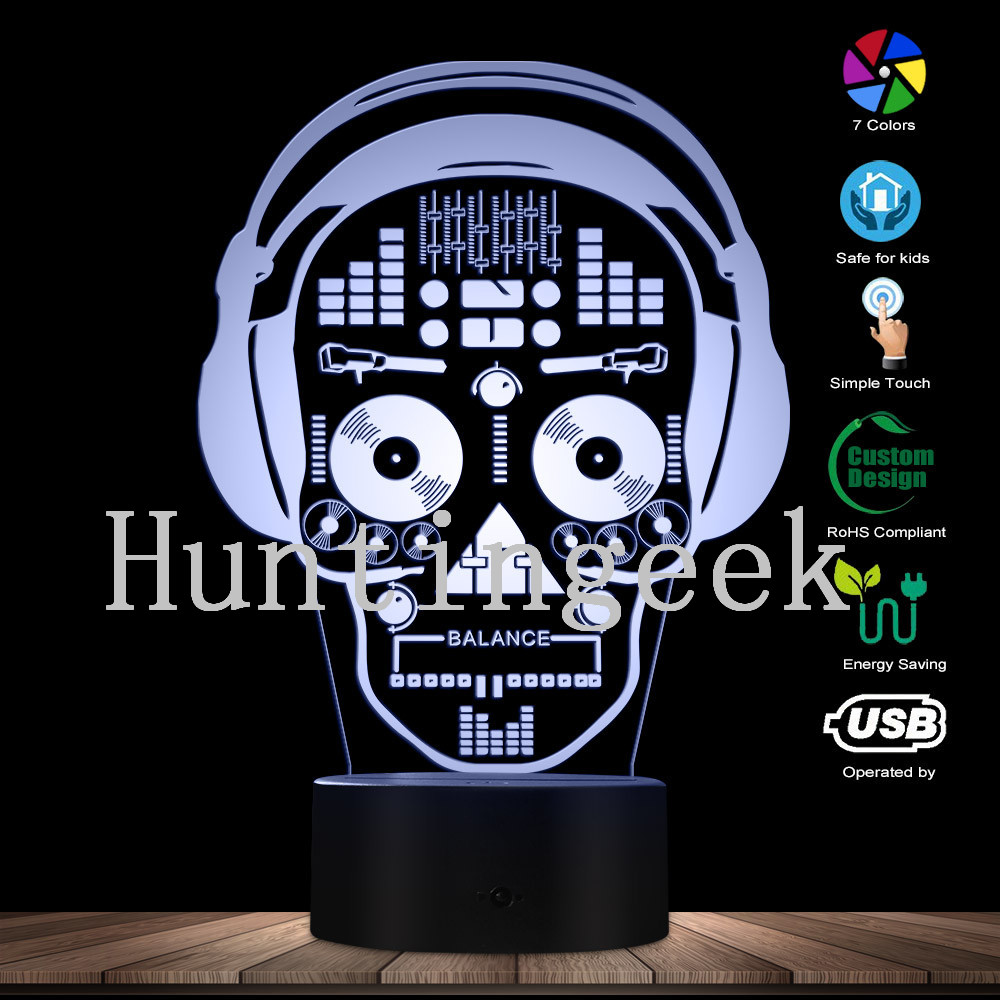 Skull Led Lighting Vinyl Record Wall Clock Unique Wall Night Lamp Remote Control Lamp Night Lights