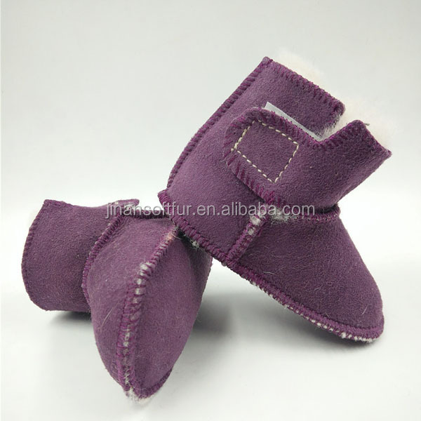 Warm winter wool shearling sheepskin leather shoes for baby