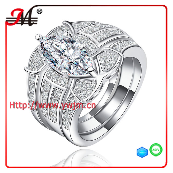 R7928WWH Jingmei fashion white gold clear cz clear zircon engagement Marquise Ring