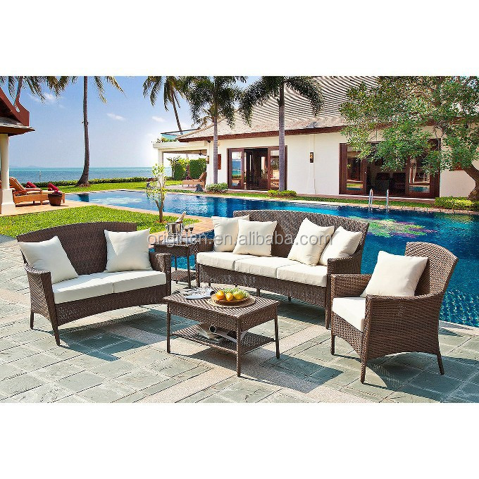 pool side 6 seater 4 piece outdoor rattan chair and side table garden furniture poland
